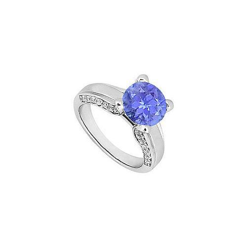 Tanzanite and Diamond Engagement Ring : 14K White Gold - 1.00 CT TGW-JewelryKorner-com