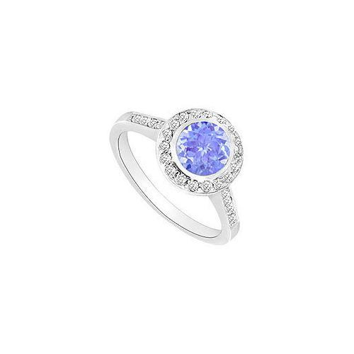 Tanzanite and Diamond Halo Engagement Ring : 14K White Gold - 1.50 CT TGW-JewelryKorner-com