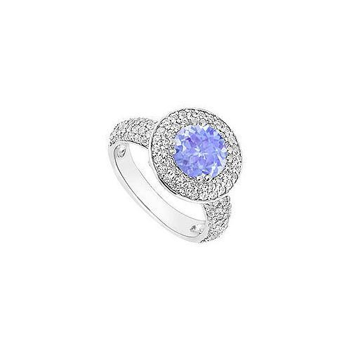 Tanzanite and Diamond Halo Engagement Ring : 14K White Gold - 2.00 CT TGW-JewelryKorner-com