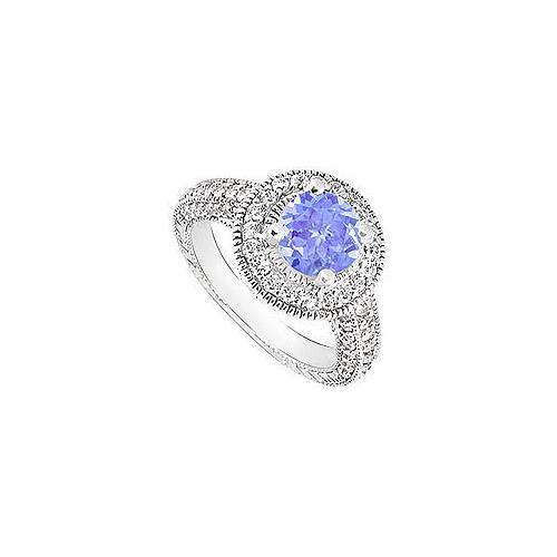 Tanzanite and Diamond Halo Engagement Ring : 14K White Gold - 2.15 CT TGW-JewelryKorner-com