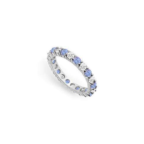 Tanzanite and Diamond Prong-Set Eternity Band : 14K White Gold - 2.00 CT TGW-JewelryKorner-com