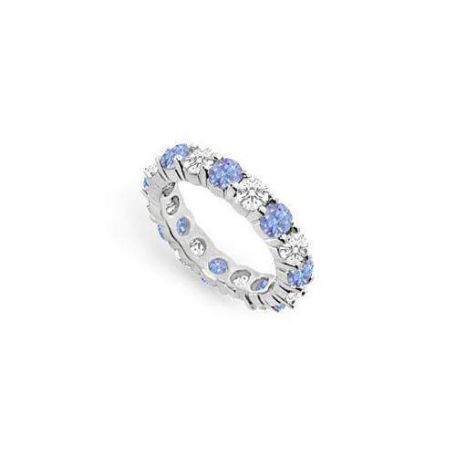 Tanzanite and Diamond Prong-Set Eternity Band : 14K White Gold - 3.00 CT TGW-JewelryKorner-com