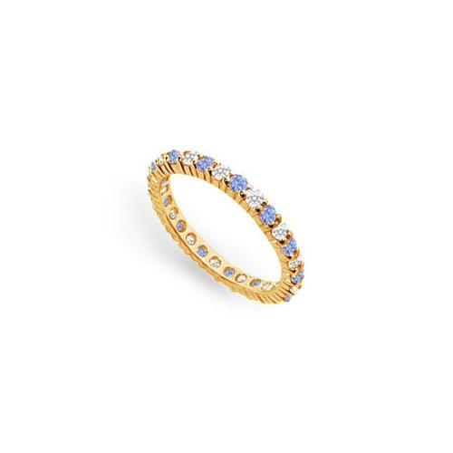 Tanzanite and Diamond Prong-Set Eternity Band : 14K Yellow Gold - 1.00 CT TGW-JewelryKorner-com