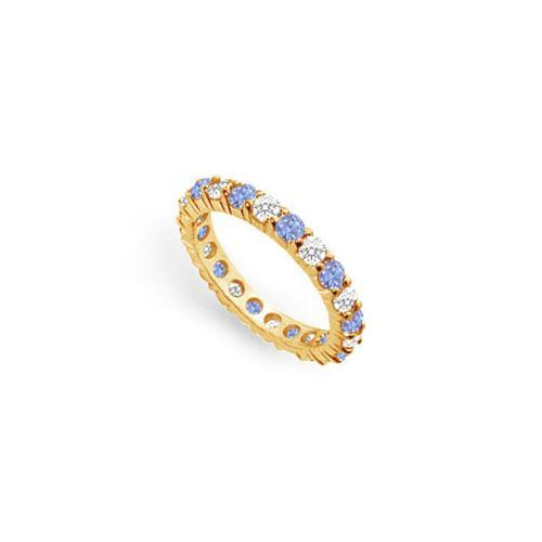 Tanzanite and Diamond Prong-Set Eternity Band : 14K Yellow Gold - 2.00 CT TGW-JewelryKorner-com