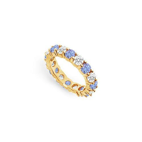 Tanzanite and Diamond Prong-Set Eternity Band : 14K Yellow Gold - 3.00 CT TGW-JewelryKorner-com