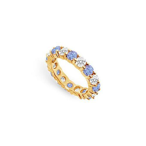 Tanzanite and Diamond Prong-Set Eternity Band : 14K Yellow Gold - 4.00 CT TGW-JewelryKorner-com