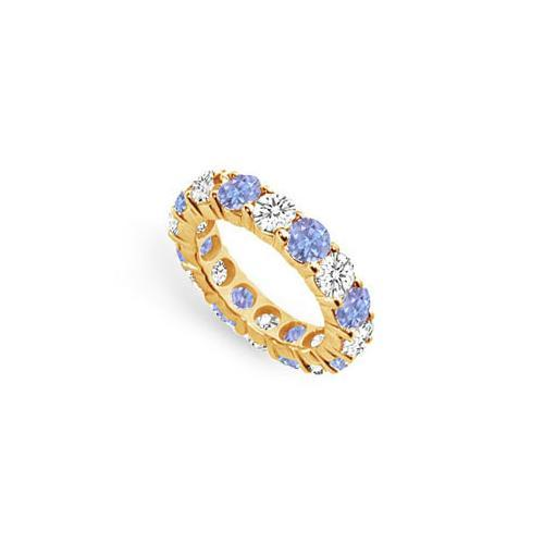 Tanzanite and Diamond Prong-Set Eternity Band : 14K Yellow Gold - 5.00 CT TGW-JewelryKorner-com