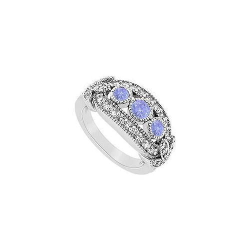 Tanzanite and Diamond Ring : 14K White Gold - 1.00 CT TGW-JewelryKorner-com