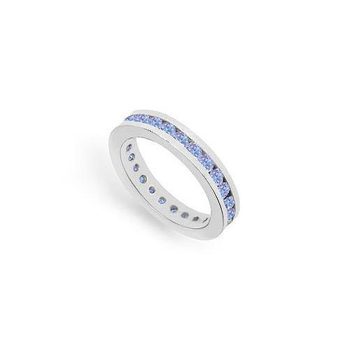 Tanzanite Channel-Set Eternity Band : 14K White Gold - 1.00 CT TGW-JewelryKorner-com