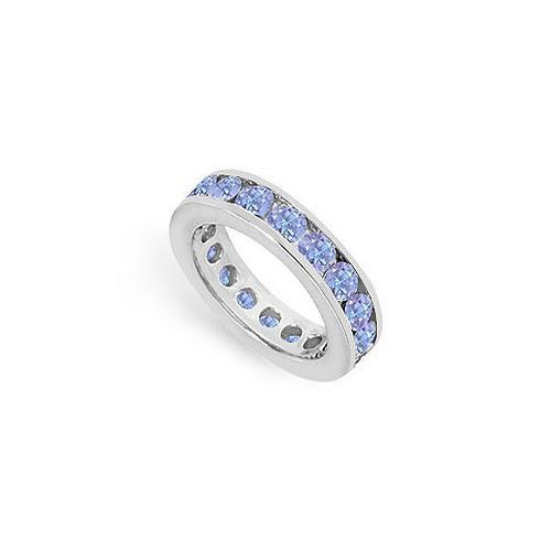 Tanzanite Channel-Set Eternity Band : 14K White Gold - 3.00 CT TGW-JewelryKorner-com