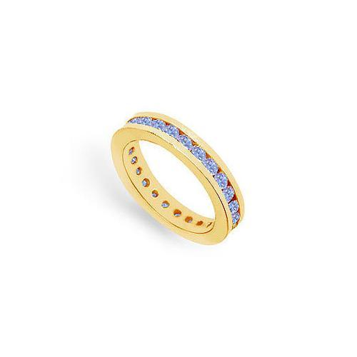 Tanzanite Channel-Set Eternity Band : 14K Yellow Gold - 1.00 CT TGW-JewelryKorner-com
