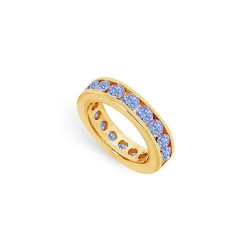 Tanzanite Channel-Set Eternity Band : 14K Yellow Gold - 3.00 CT TGW-JewelryKorner-com