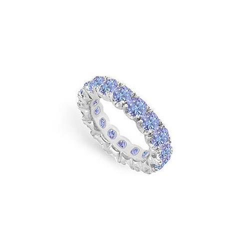 Tanzanite Eternity Band : 14K White Gold - 5.00 CT TGW-JewelryKorner-com