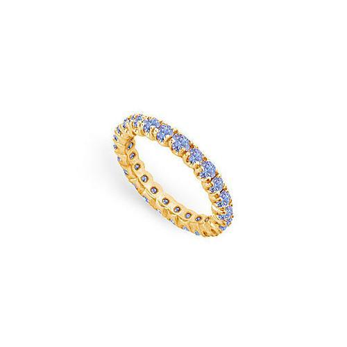 Tanzanite Eternity Band : 14K Yellow Gold - 1.00 CT TGW-JewelryKorner-com