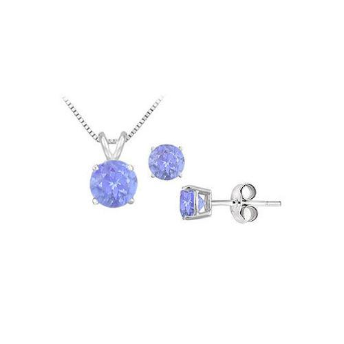 Tanzanite Solitaire Pendant with Earrings Set in Sterling Silver 2.00 CT TGW-JewelryKorner-com