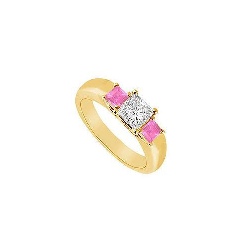 Three Stone Diamond and Pink Sapphire Ring : 14K Yellow Gold - 0.33 CT TGW-JewelryKorner-com