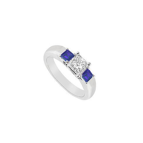 Three Stone Diamond and Sapphire Ring : 14K White Gold - 0.33 CT TGW-JewelryKorner-com