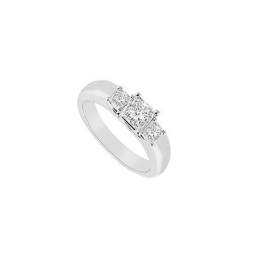 Three Stone Diamond Ring : 14K White Gold - 0.25 CT Diamonds-JewelryKorner-com