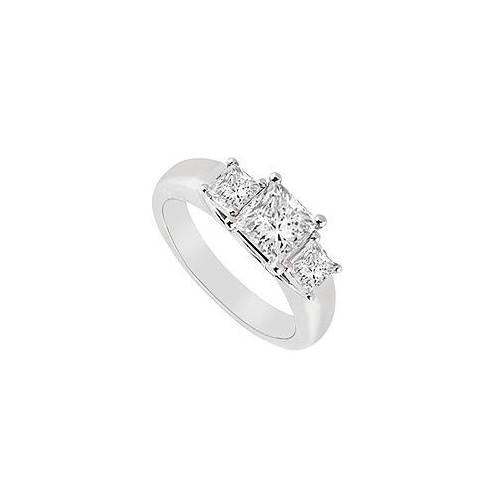 Three Stone Diamond Ring : 14K White Gold - 0.50 CT Diamonds-JewelryKorner-com