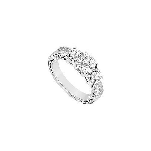 Three Stone Diamond Ring : 14K White Gold - 1.00 CT Diamonds-JewelryKorner-com