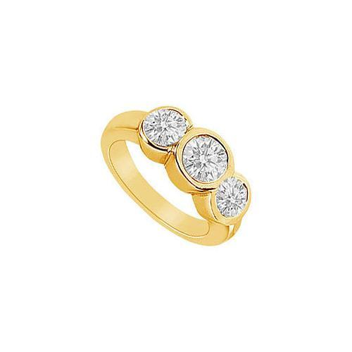 Three Stone Diamond Ring : 14K Yellow Gold - 1.75 CT Diamonds-JewelryKorner-com