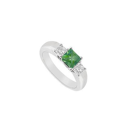 Three Stone Emerald and Diamond Ring : 14K White Gold - 0.33 CT TGW-JewelryKorner-com