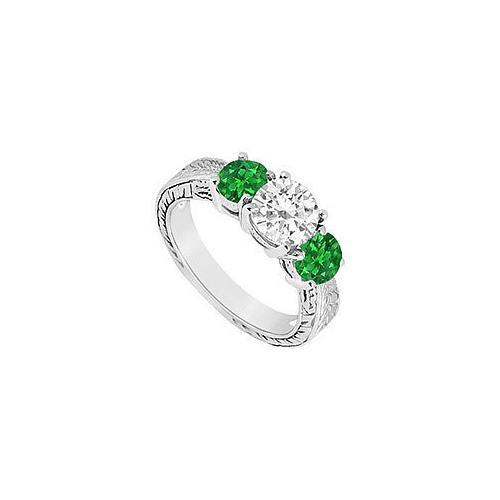 Three Stone Emerald and Diamond Ring : 14K White Gold - 1.25 CT TGW-JewelryKorner-com