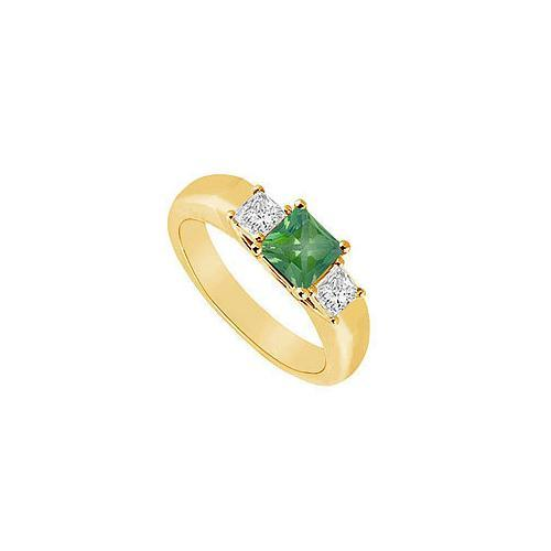 Three Stone Emerald and Diamond Ring : 14K Yellow Gold - 0.33 CT TGW-JewelryKorner-com
