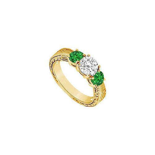 Three Stone Emerald and Diamond Ring : 14K Yellow Gold - 0.75 CT TGW-JewelryKorner-com