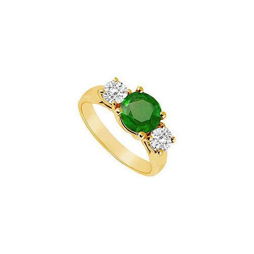 Three Stone Emerald and Diamond Ring : 14K Yellow Gold - 1.75 CT TGW-JewelryKorner-com