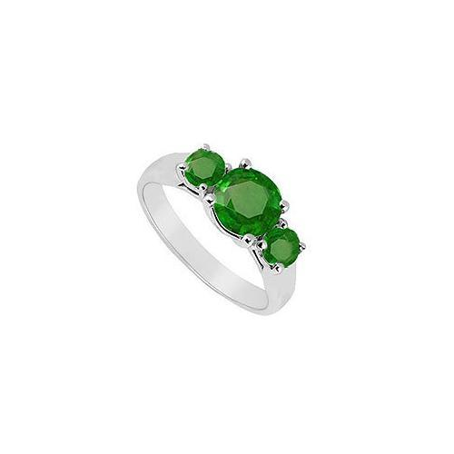 Three Stone Emerald Ring : 14K White Gold - 0.75 CT TGW-JewelryKorner-com