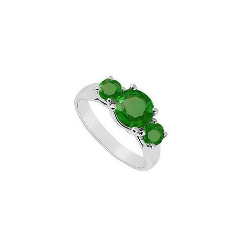 Three Stone Emerald Ring : 14K White Gold - 1.25 CT TGW-JewelryKorner-com