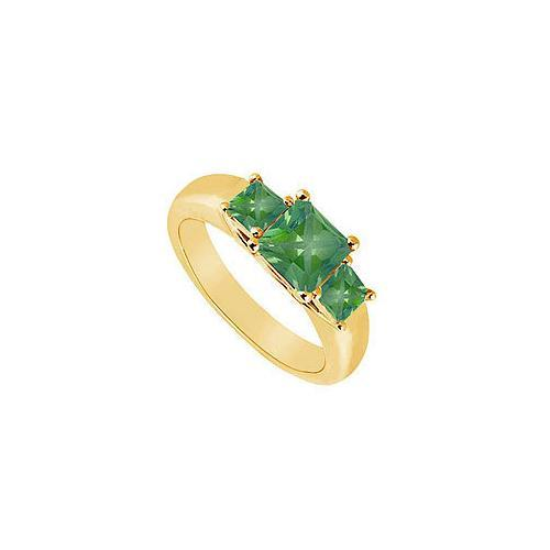 Three Stone Emerald Ring : 14K Yellow Gold - 0.50 CT TGW-JewelryKorner-com