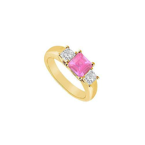 Three Stone Pink Sapphire and Diamond Ring : 14K Yellow Gold - 0.50 CT TGW-JewelryKorner-com