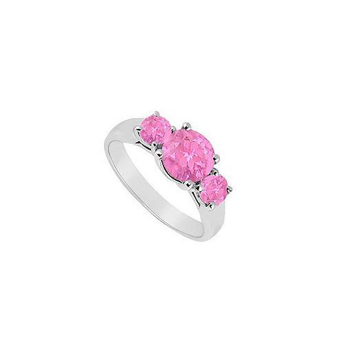 Three Stone Pink Sapphire Ring : 14K White Gold - 0.75 CT TGW-JewelryKorner-com