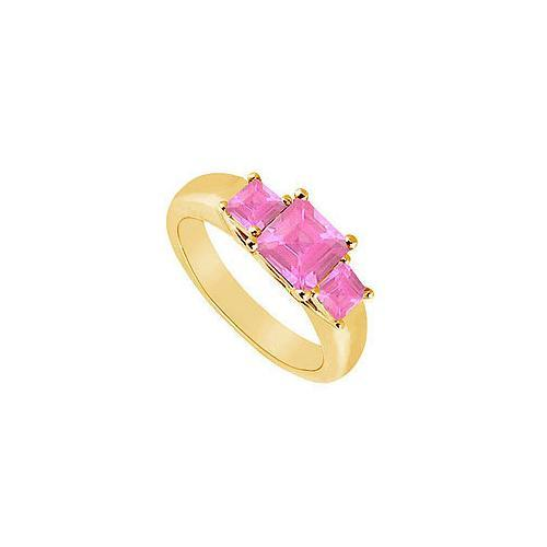 Three Stone Pink Sapphire Ring : 14K Yellow Gold - 0.50 CT TGW-JewelryKorner-com