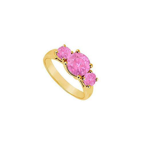 Three Stone Pink Sapphire Ring : 14K Yellow Gold - 1.75 CT TGW-JewelryKorner-com