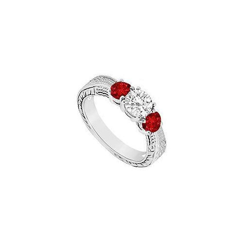 Three Stone Ruby and Diamond Ring : 14K White Gold - 0.50 CT TGW-JewelryKorner-com