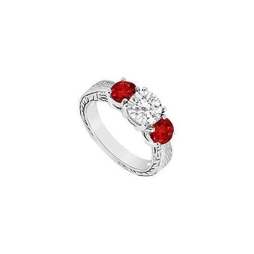 Three Stone Ruby and Diamond Ring : 14K White Gold - 1.25 CT TGW-JewelryKorner-com