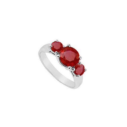 Three Stone Ruby Ring : 14K White Gold - 1.25 CT TGW-JewelryKorner-com