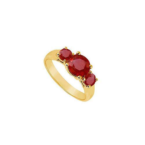 Three Stone Ruby Ring : 14K Yellow Gold - 0.75 CT TGW-JewelryKorner-com