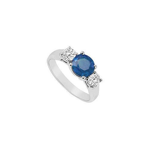 Three Stone Sapphire and Diamond Ring : 14K White Gold - 0.75 CT TGW-JewelryKorner-com