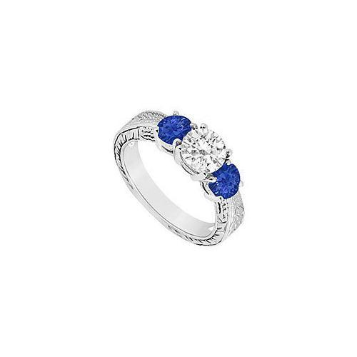 Three Stone Sapphire and Diamond Ring : 14K White Gold - 1.00 CT TGW-JewelryKorner-com