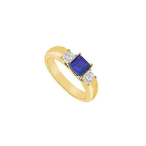 Three Stone Sapphire and Diamond Ring : 14K Yellow Gold - 0.33 CT TGW-JewelryKorner-com