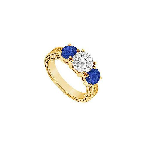 Three Stone Sapphire and Diamond Ring : 14K Yellow Gold - 1.50 CT TGW-JewelryKorner-com