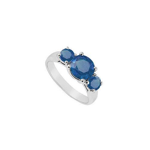 Three Stone Sapphire Ring : 14K White Gold - 1.75 CT TGW-JewelryKorner-com
