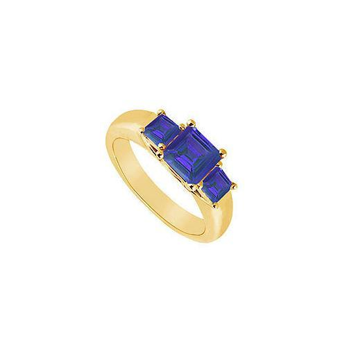 Three Stone Sapphire Ring : 14K Yellow Gold - 0.50 CT TGW-JewelryKorner-com