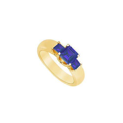 Three Stone Sapphire Ring : 14K Yellow Gold - 0.75 CT TGW-JewelryKorner-com