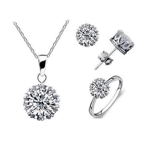 Tiara Set Of 4 Necklace Pendant Ring And Stud Earrings In Silver Plated Crown Setting-JewelryKorner-com