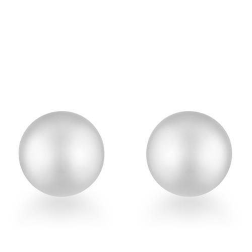 Tina Rhodium Sphere Stud Earrings-JewelryKorner-com